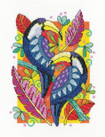 Heritage Crafts Birds Of A Feather Cross Stitch Kit -Toucan